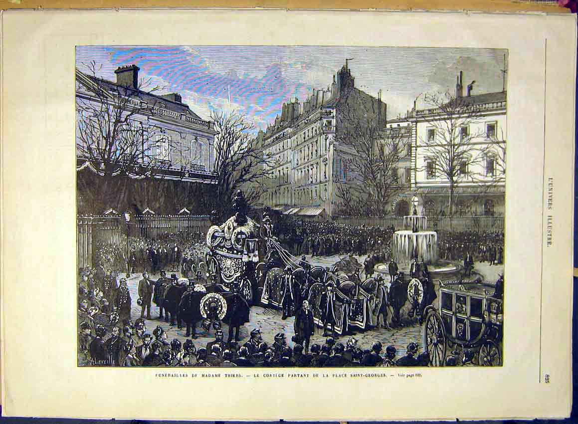 Print Funeral Thiers Cortege Saint-Georges French 1880 25Lun1 Old Original