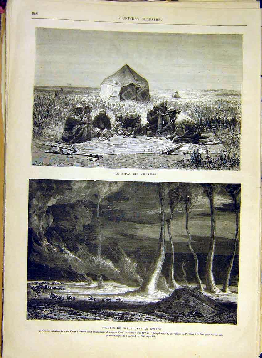 Print Kirghises Whirlwind Steppes Dust Tornadoes Samarkland 28Lun1 Old Original