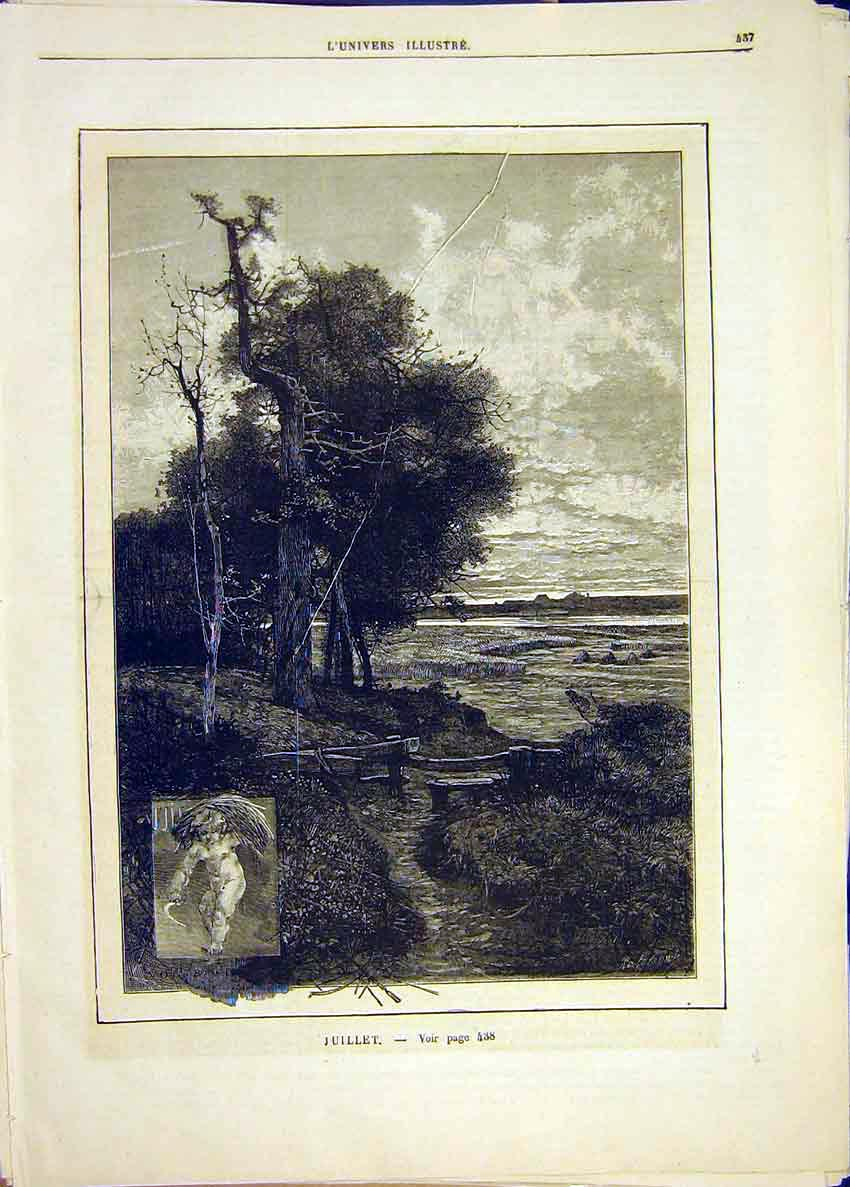Print July Month Season Landscape French 1881 37Lun1 Old Original