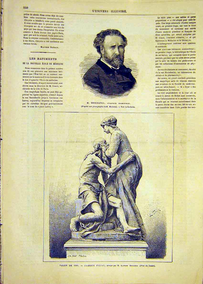 Print Portrait Deschanel Senator Statue Boucher 1881 40Lun1 Old Original