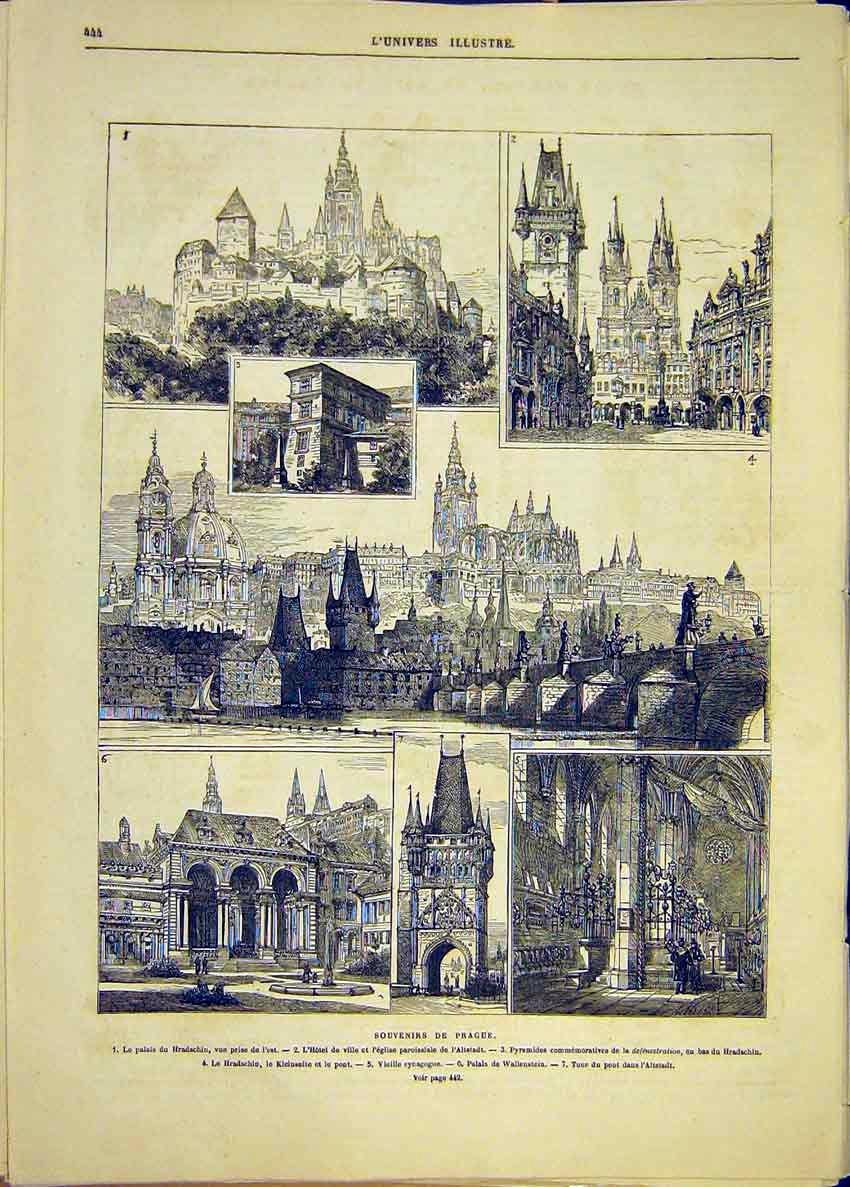 Print Prague Buildings Hradschin Altstadt Synagogue 1881 44Lun1 Old Original