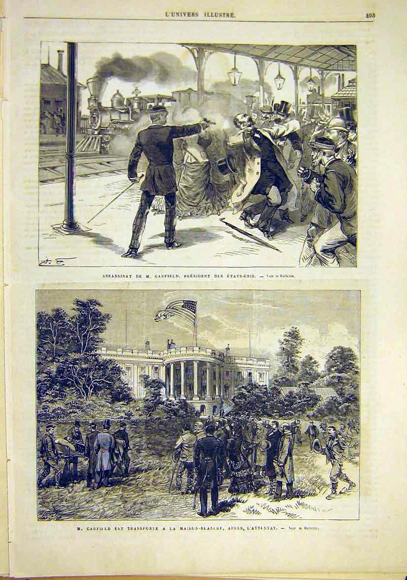 Print Assasination Garfield United States White-House 1881 93Lun1 Old Original