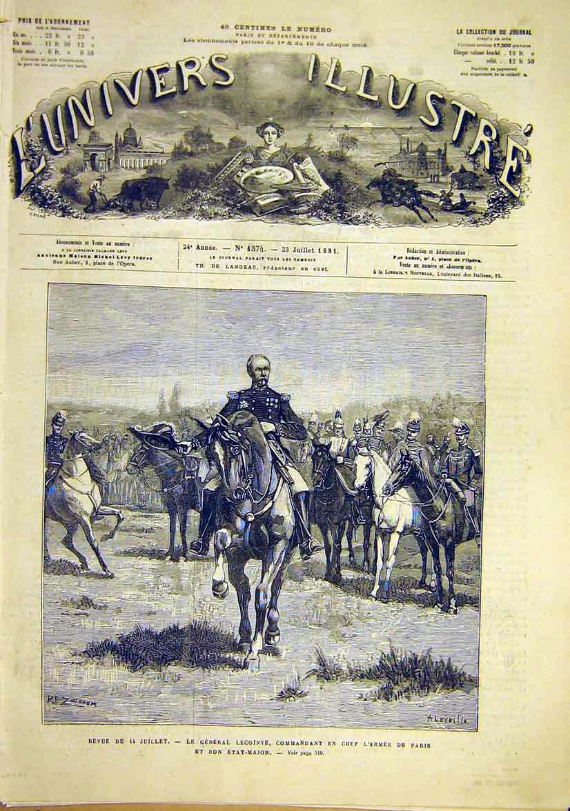 Print Review 14 July Lecointe Army Paris French 1881 06Lun1 Old Original