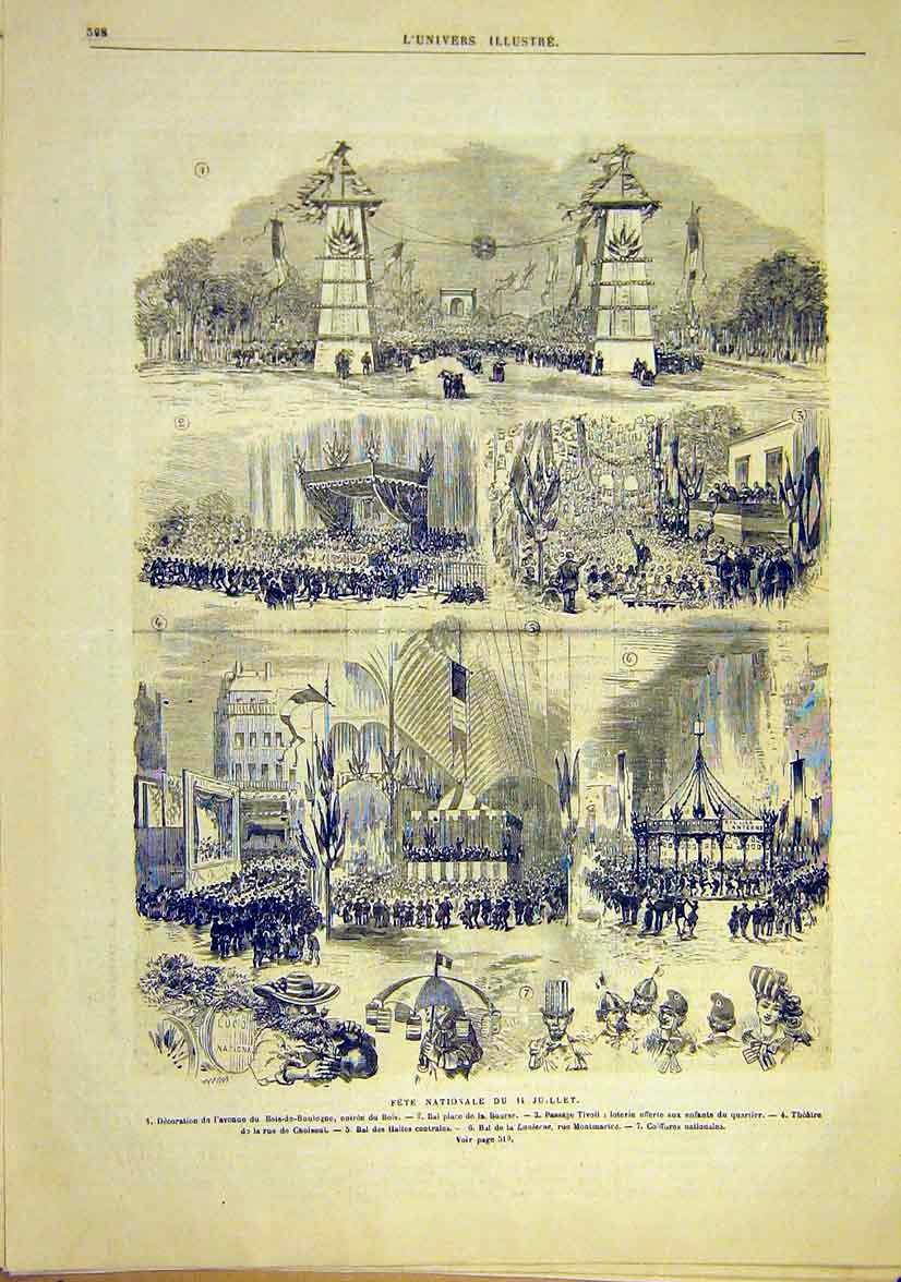 Print National Fete 14 July France Montmartre Paris 1881 08Lun1 Old Original