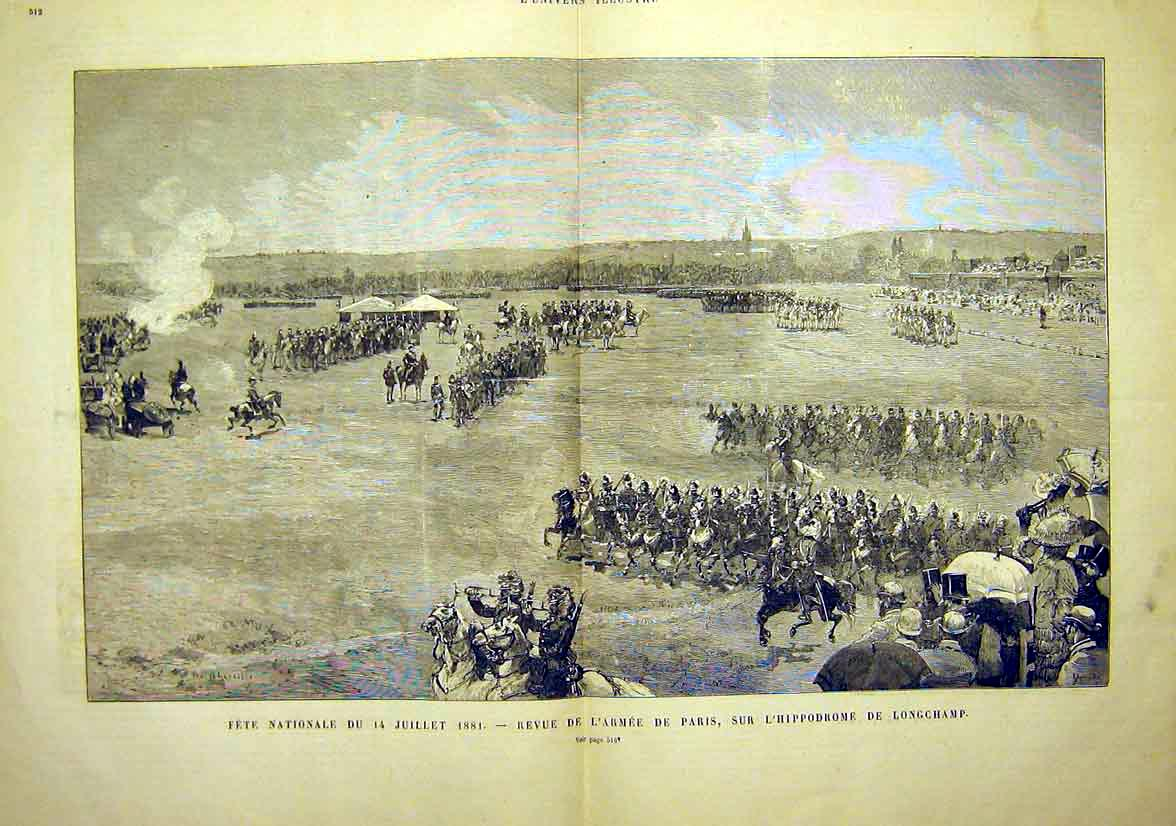 Print Army Paris Review Hippodrome Longchamp 1881 11Tlun1 Old Original