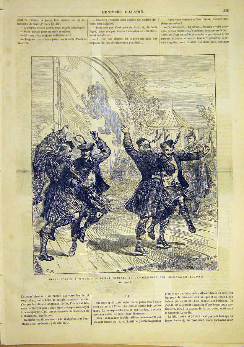 Print Windsor Royal Scottish Volunteers Dance 1881 33Lun1 Old Original
