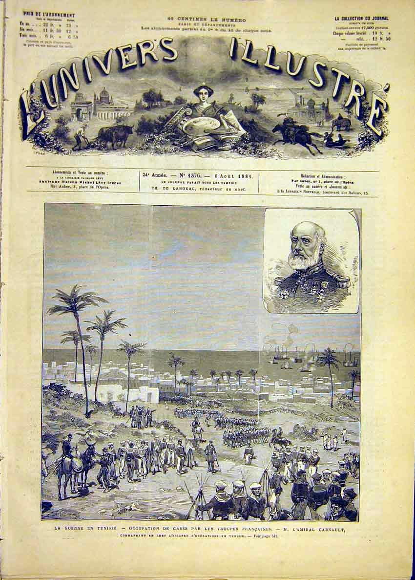 Print War Tunisia Troops French Garnault French 1881 38Lun1 Old Original