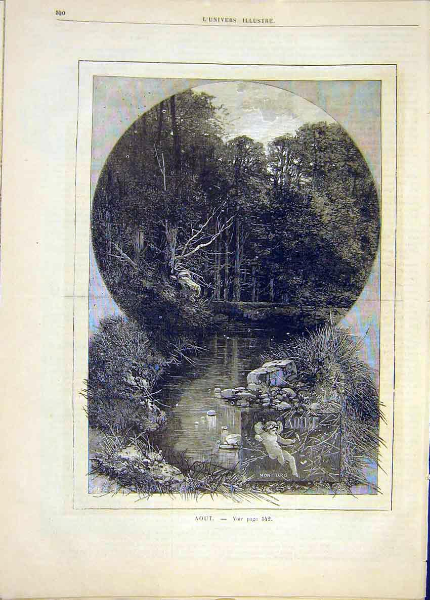Print August Month Season Montbard River French 1881 40Lun1 Old Original