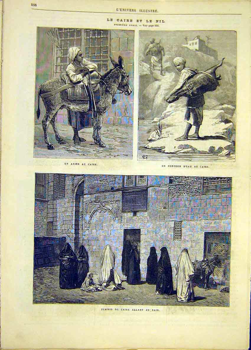 Print Cairo Nile Egypt Donkey Water-Carrier Ladies Bath 1881 56Lun1 Old Original