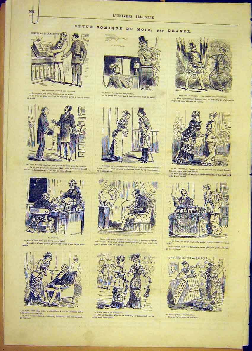 Print Comic Review Sketch Draner Theatre French 1881 64Alun1 Old Original