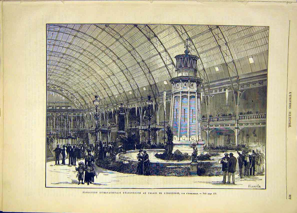 Print Electricity Exhibition Industrial Palace 1881 77Lun1 Old Original