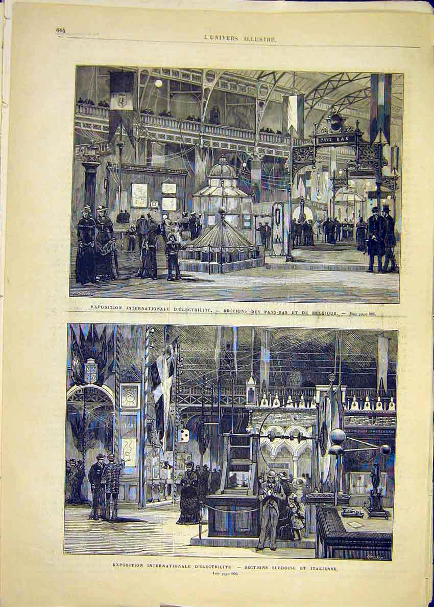 Print Electricity Exhibition Belgium Italian 1881 04Lun1 Old Original