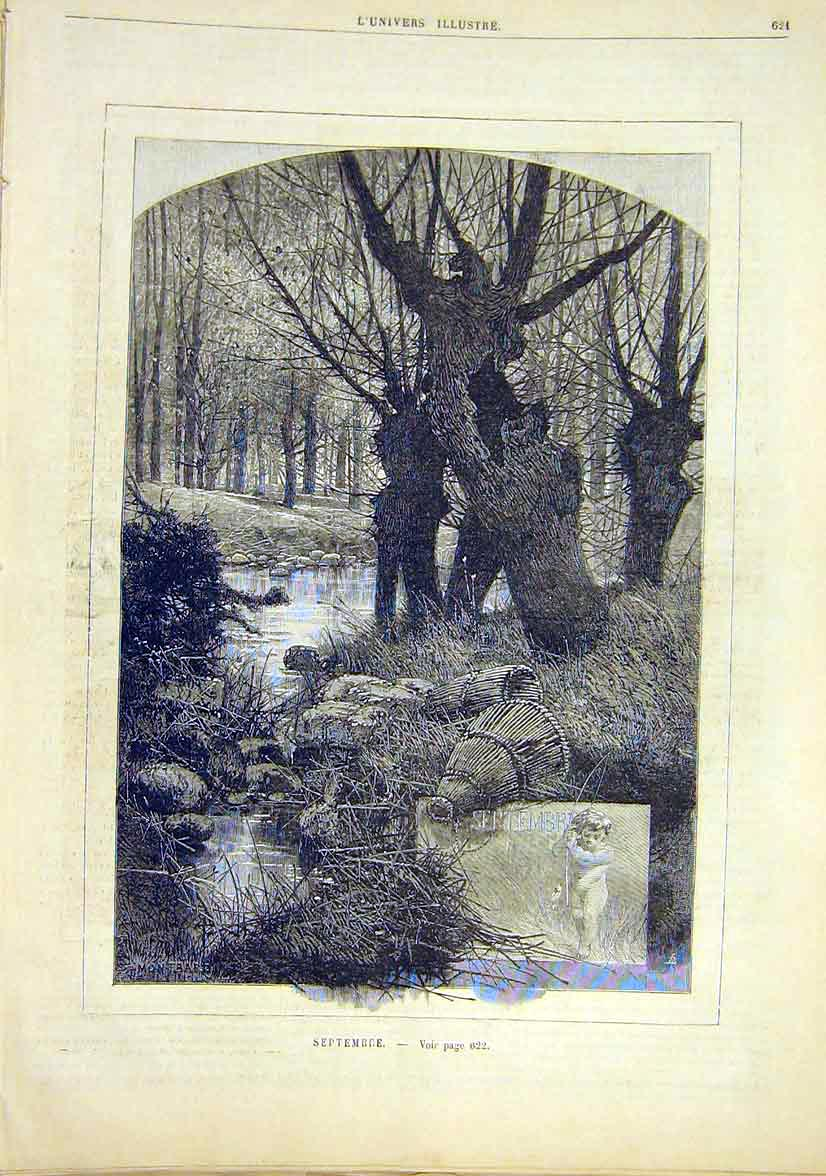 Print September Season Month Forest Stream French 1881 21Lun1 Old Original