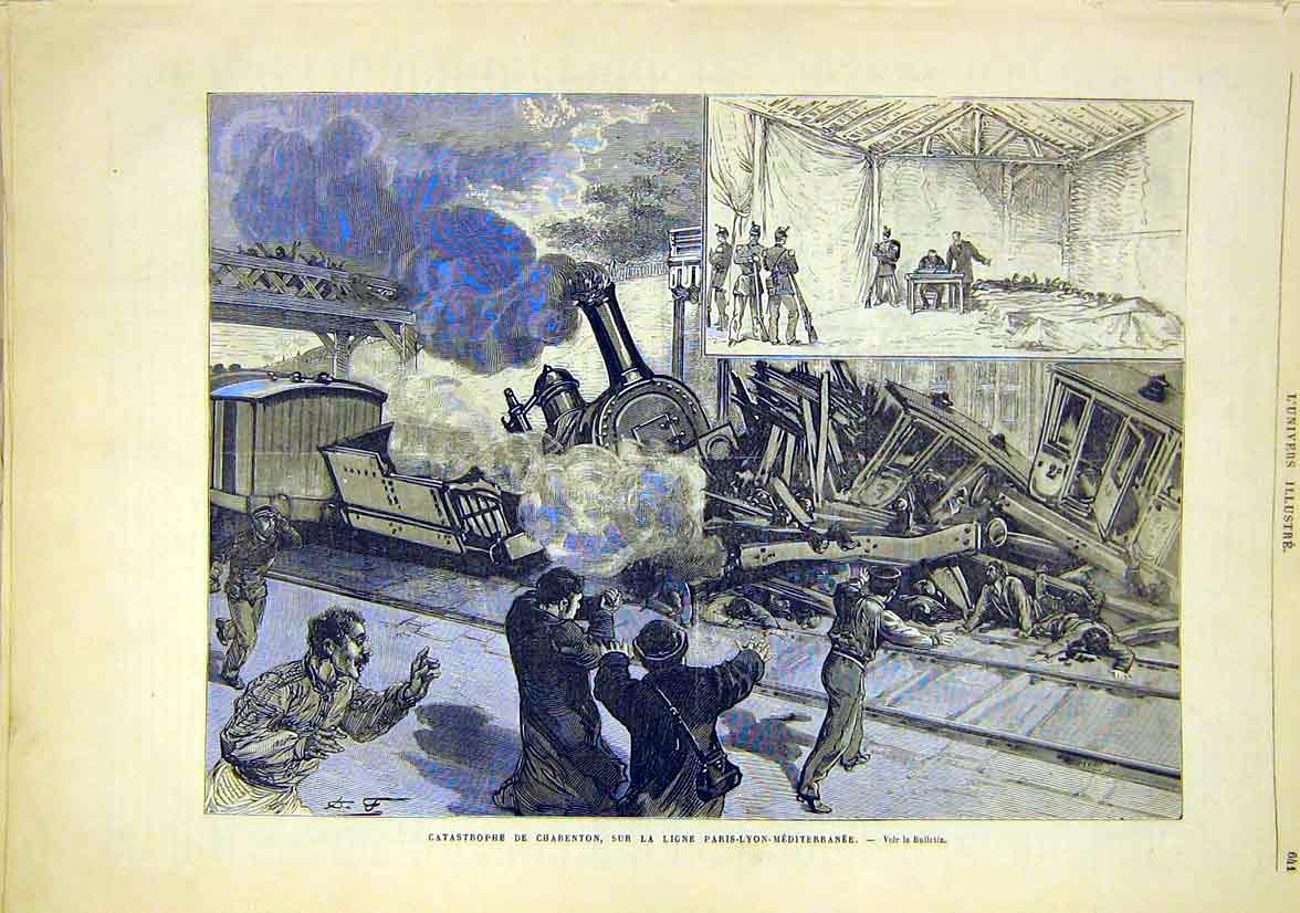 Print Charenton Railway Train Paris-Lyon-Mediiterranean 1881 41Lun1 Old Original