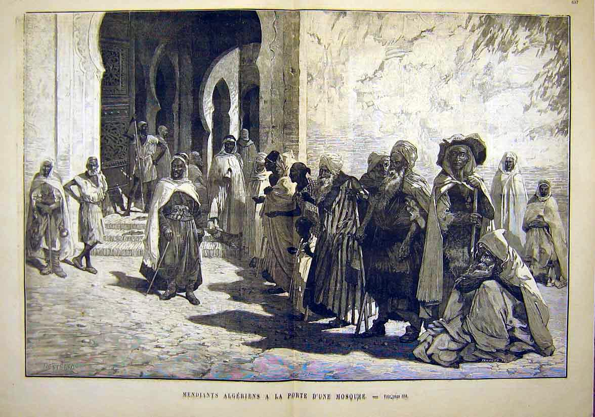 Print Algerians Mosque Algeria Africa French 1881 55Tlun1 Old Original