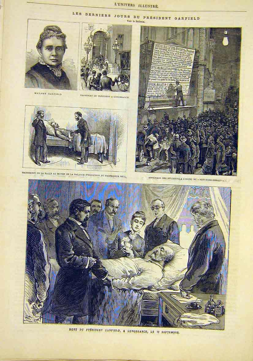 Print President Garfield Longbranch United States 1881 72Lun1 Old Original