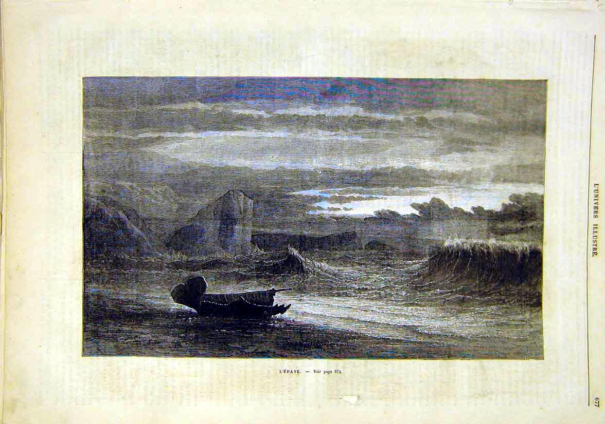 Print L'Epave Sea Beach Ship-Wreck Boat French 1881 77Lun1 Old Original