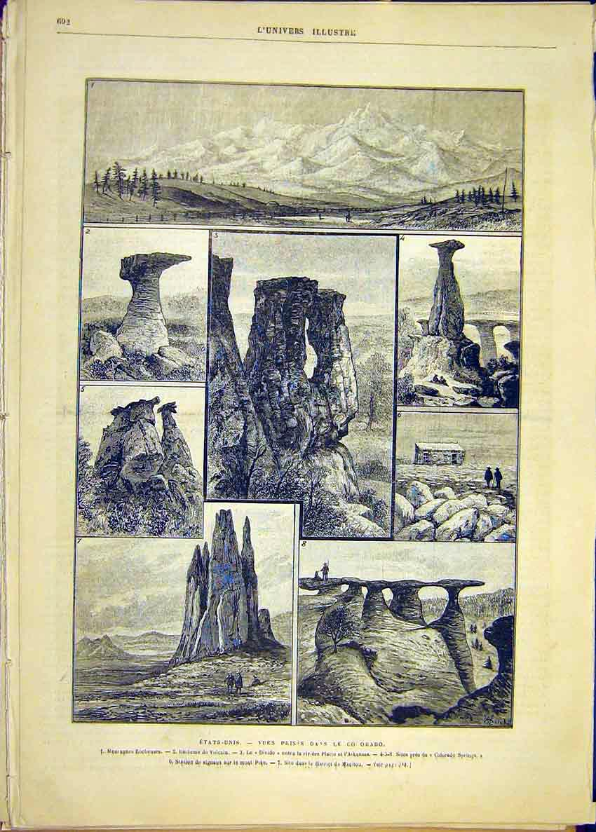 Print United States Colorado Mountains Springs 1881 92Lun1 Old Original