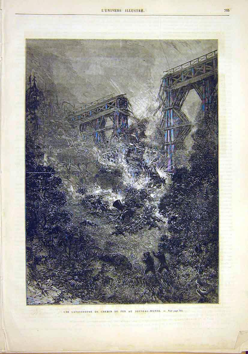 Print Railway New-World Bridge Train Catastrophe 1881 05Lun1 Old Original