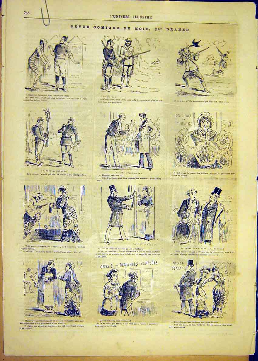 Print Comic Sketches Review Draner Election French 1881 08Alun1 Old Original