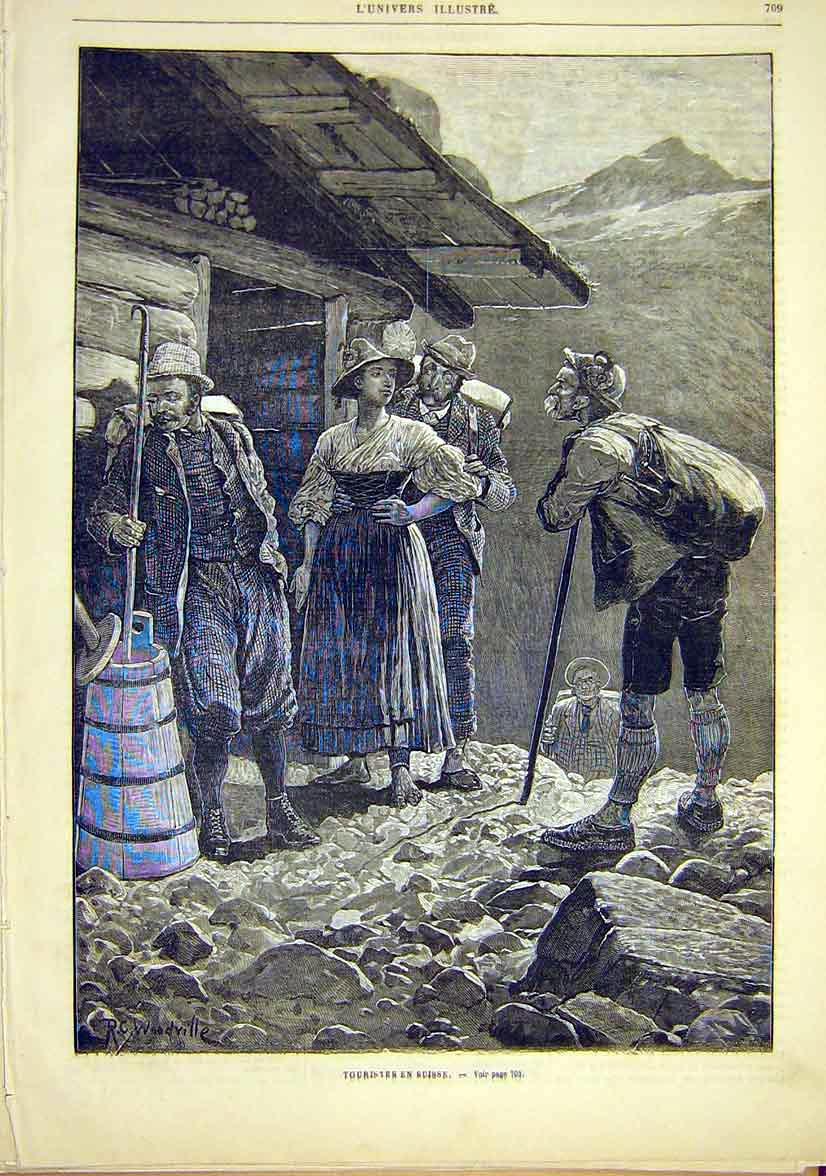 Print Switzerland Swiss Tourists French 1881 09Lun1 Old Original