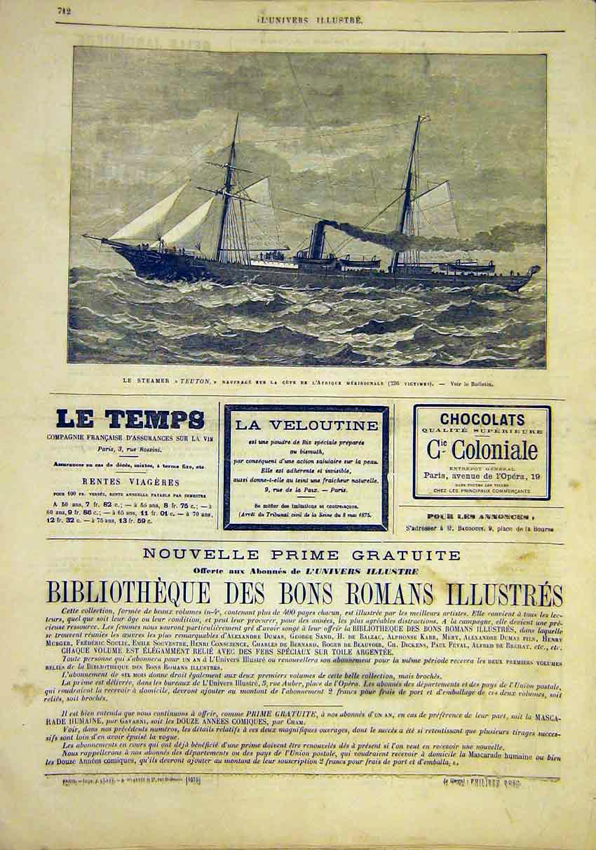 Print Steamer Teuton Ship Navy Wreck French 1881 12Lun1 Old Original
