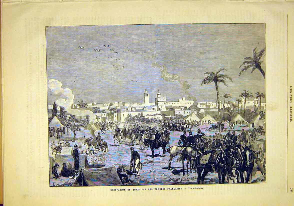 Print Tunis French Troops War Tunisia Occupation 1881 21Lun1 Old Original