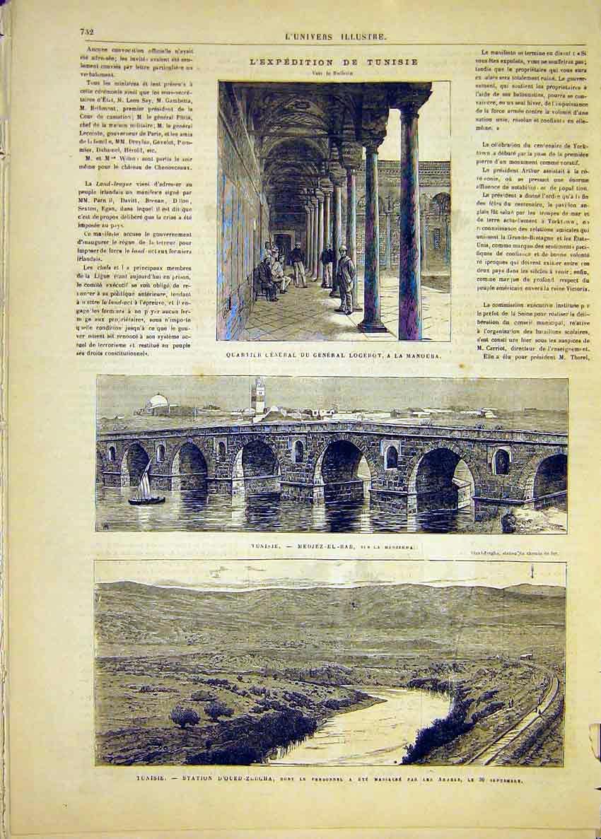 Print Expedition Tunisia Logerot Manouba Railway 1881 32Lun1 Old Original