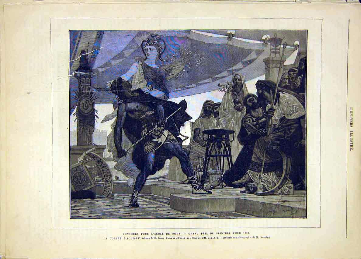 Print Rome Achilles Edouard-Fournier School French 1881 38Lun1 Old Original