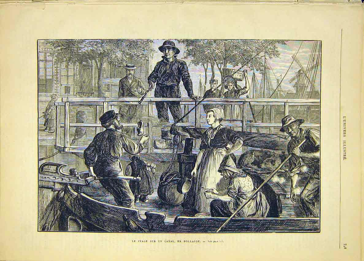 Print Canal Holland Boat French 1881 Dutch 41Lun1 Old Original