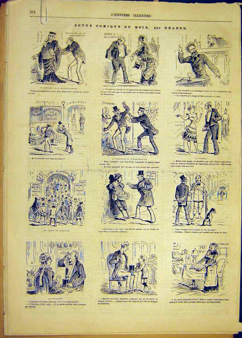 Print Comic Review Sketches Draner French 1881 72Alun1 Old Original