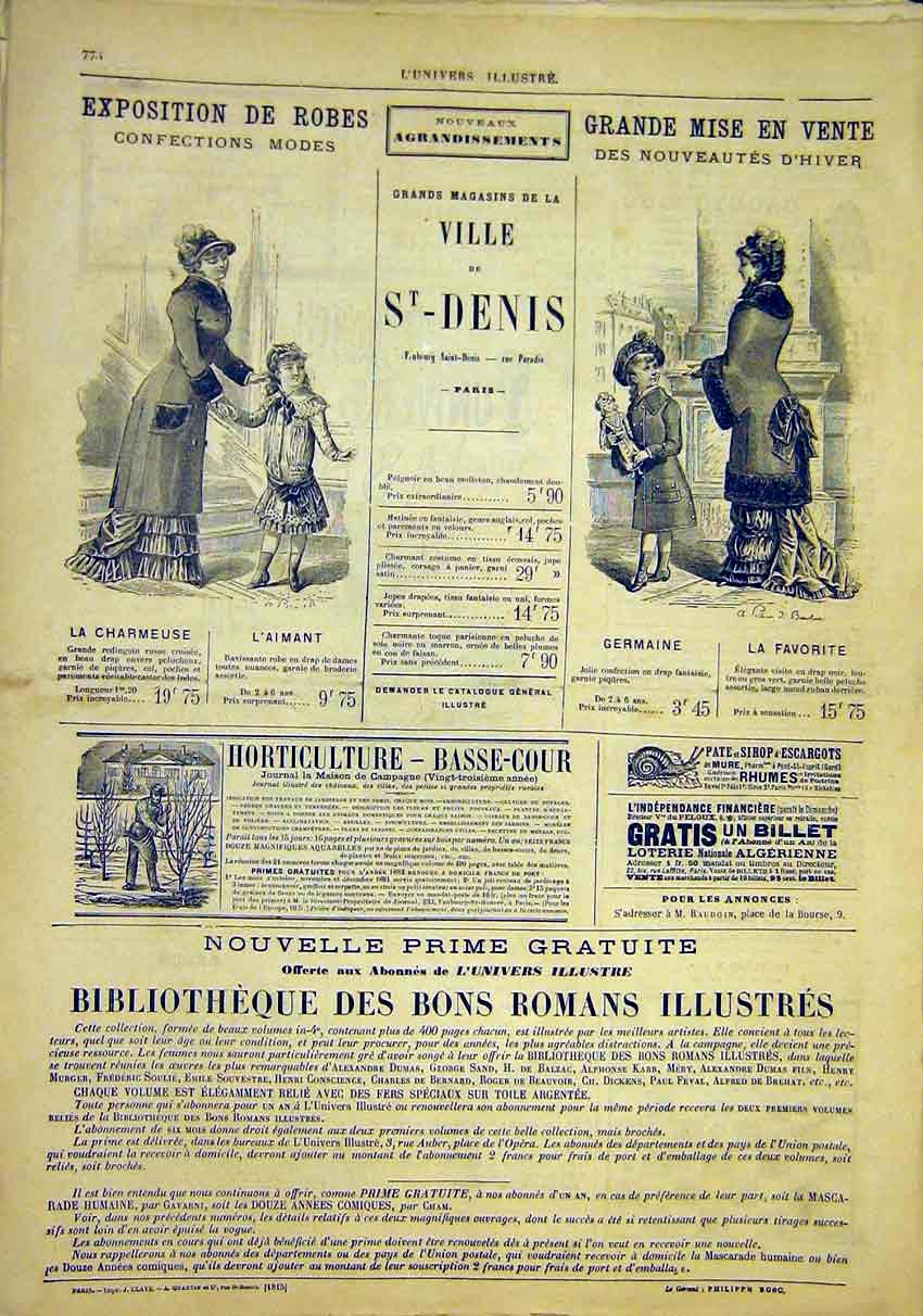 Print Ladies Fashion Exhibition Advert French 1881 76Lun1 Old Original