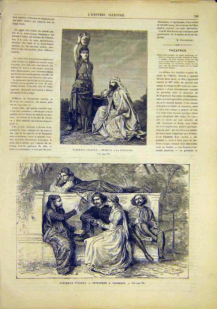 Print Rebecca Fountain Pertraque Florence French 1881 81Lun1 Old Original