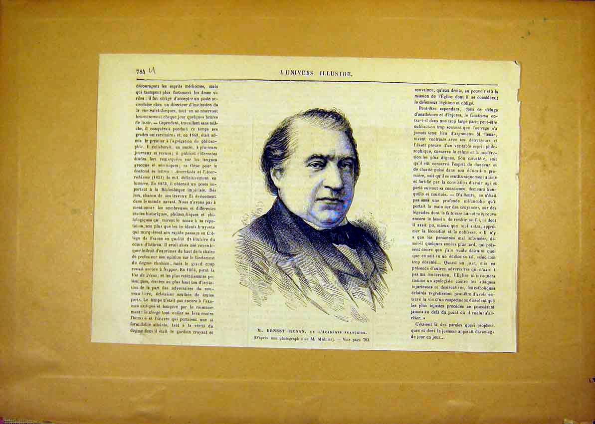 Print Portrait Ernest Renan French Academy 1881 84Ulun1 Old Original