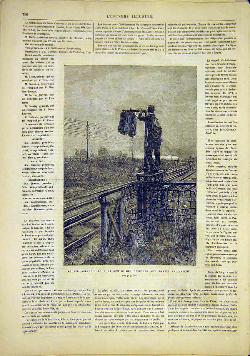 Print Post-Train Railway Transport French 1881 96Lun1 Old Original