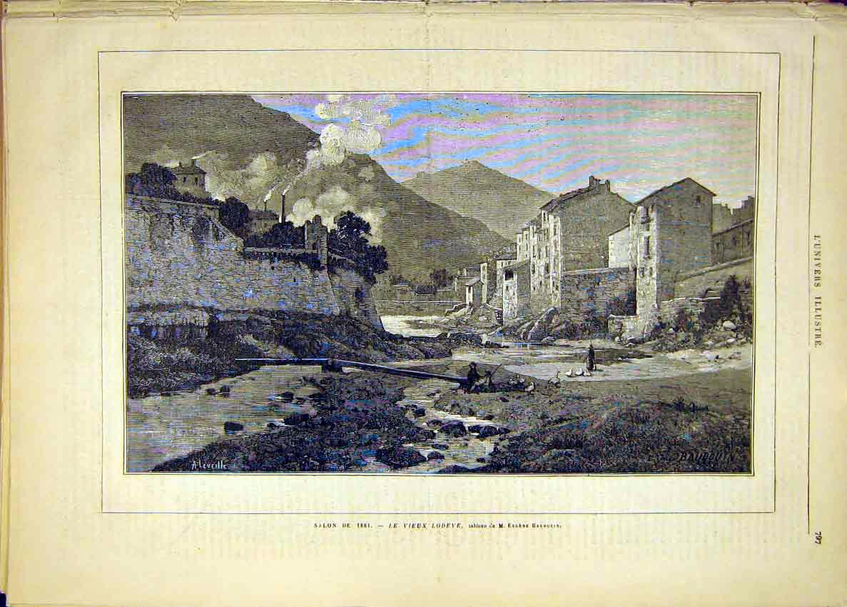 Print Lodeve Baudouin Buildings Landscape French 1881 97Lun1 Old Original