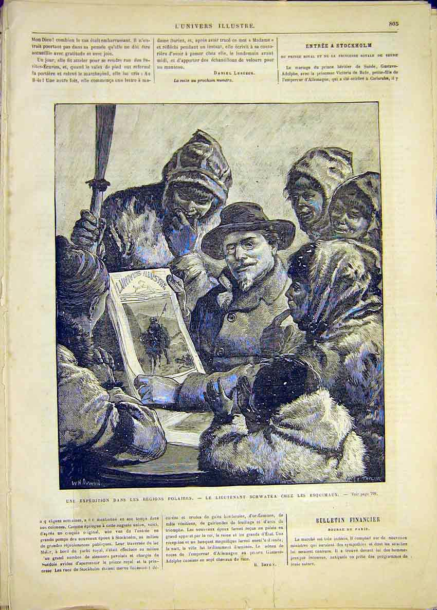 Print Expedition Pole Polar Schwatka Eskimo French 1881 05Lun1 Old Original