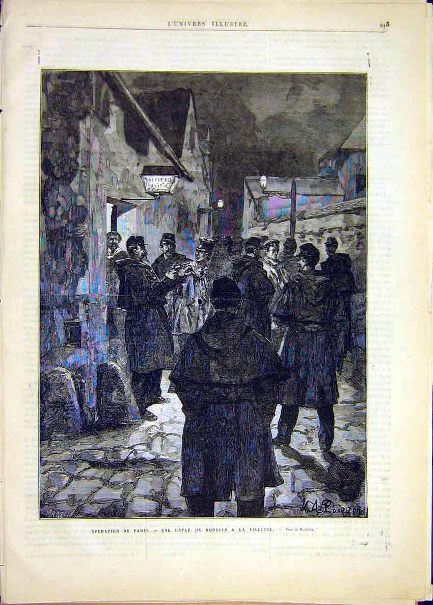 Print Paris Rodeurs Village French 1881 France 13Lun1 Old Original