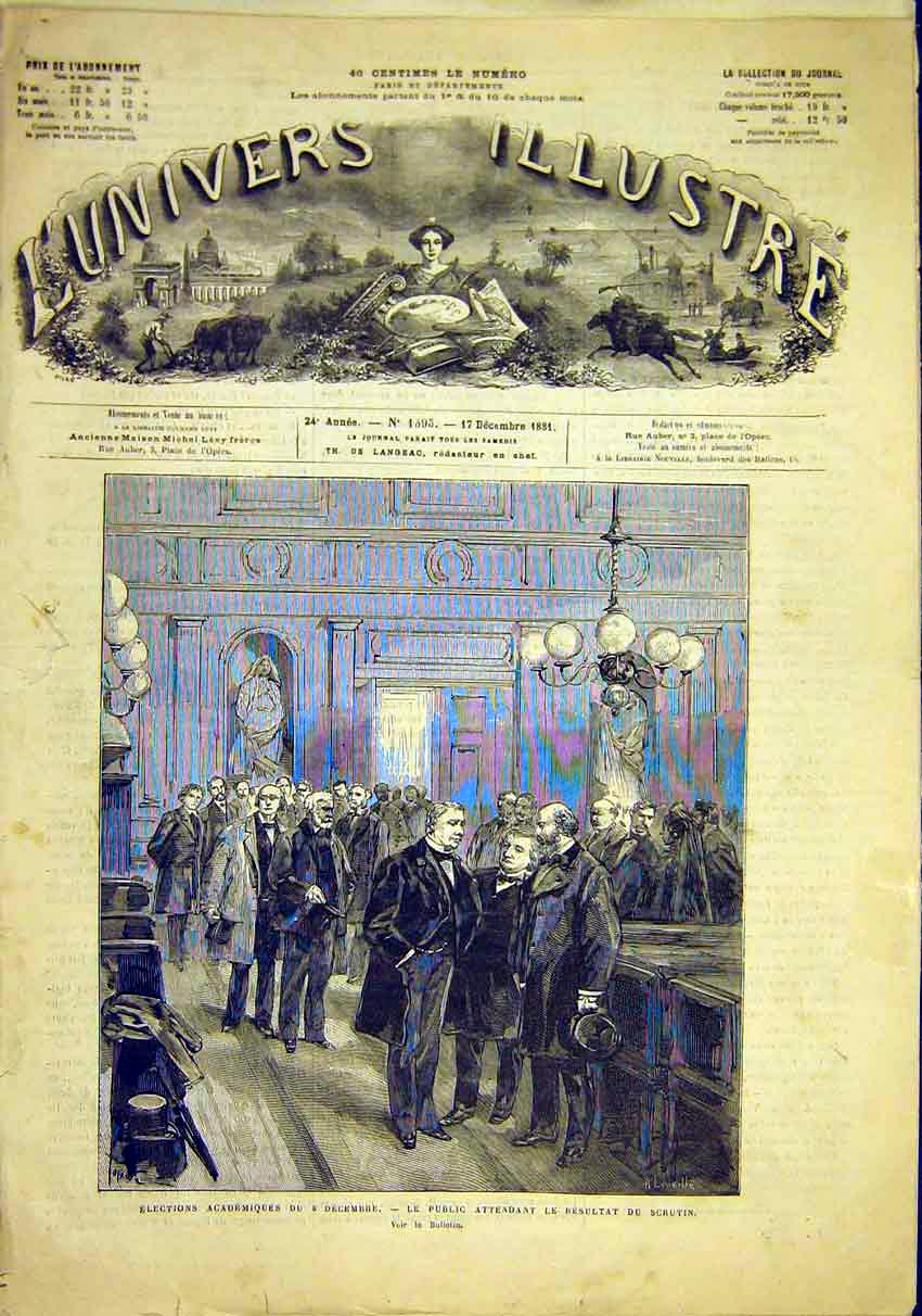 Print Academy Elections French 1881 France 42Lun1 Old Original