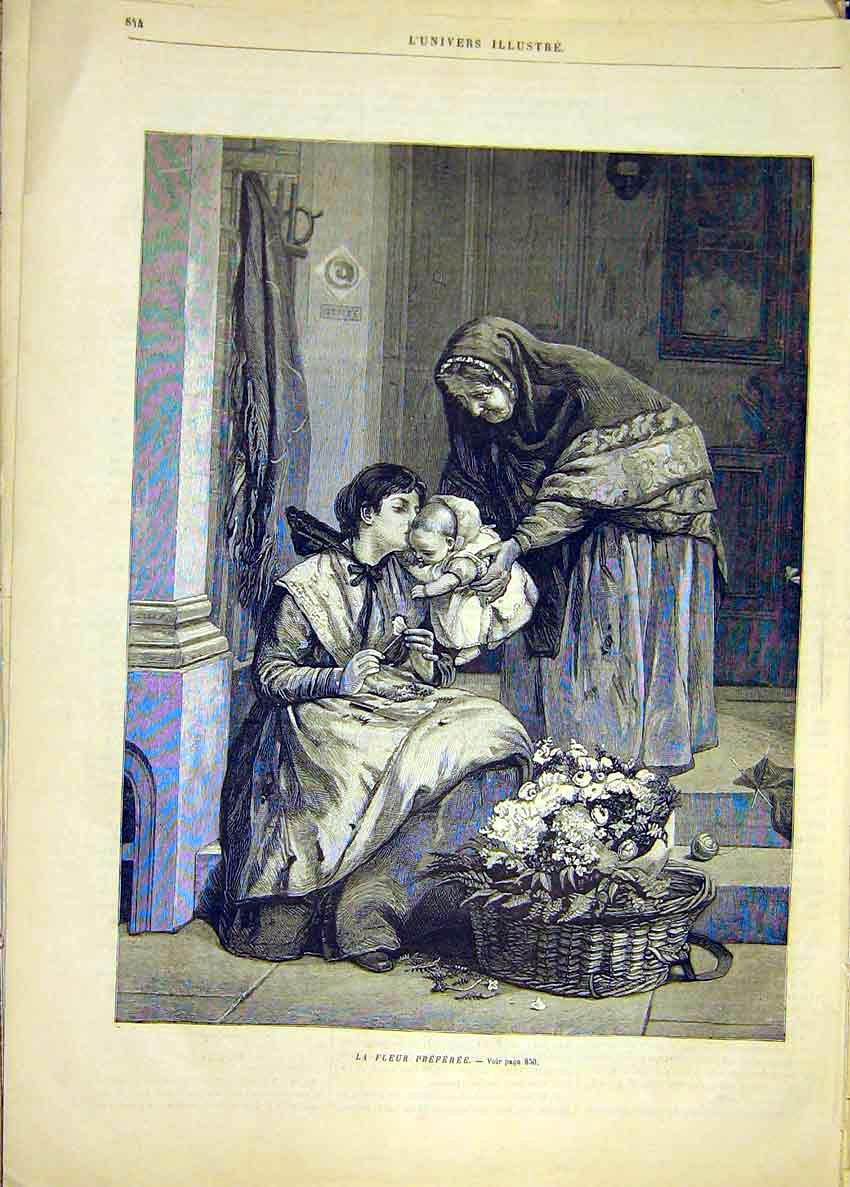 Print Baby Flowers Mother Fine Art French 1881 44Lun1 Old Original