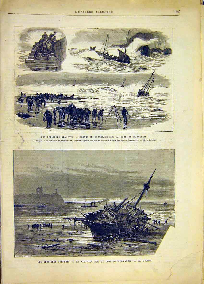 Print Storm Normandy Ship Wreck Sea French 1881 45Lun1 Old Original