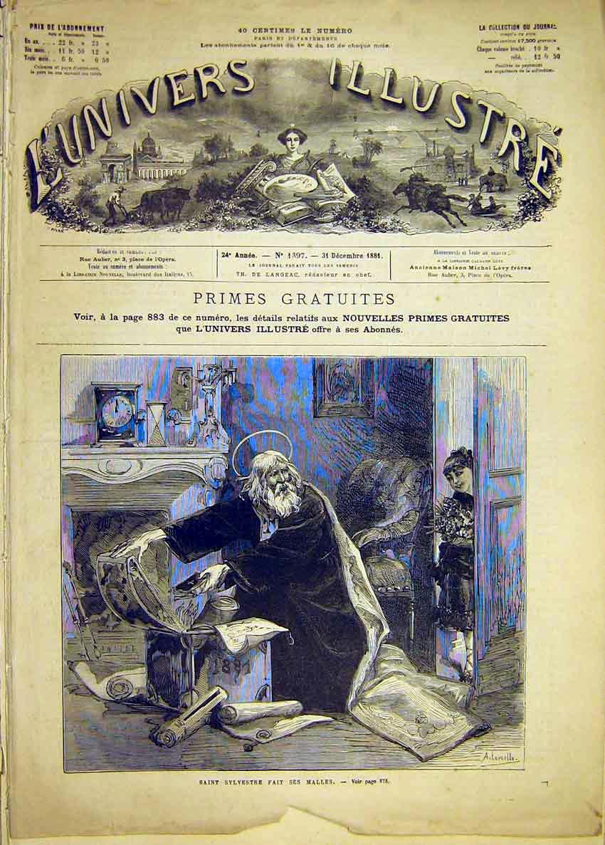 Print Saint Sylvester Unwell Sick Fine Art French 1881 74Lun1 Old Original