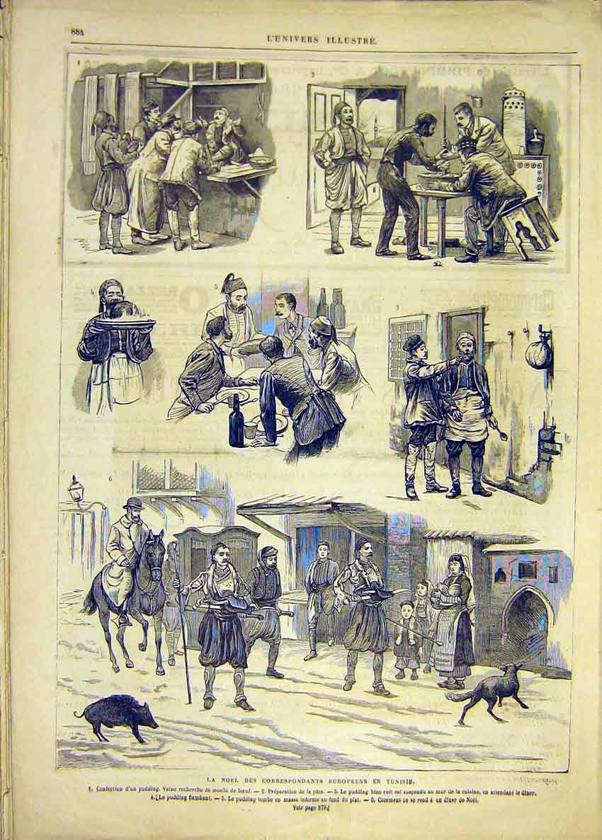 Print Christmas Tunisia Correspondents French 1881 84Lun1 Old Original