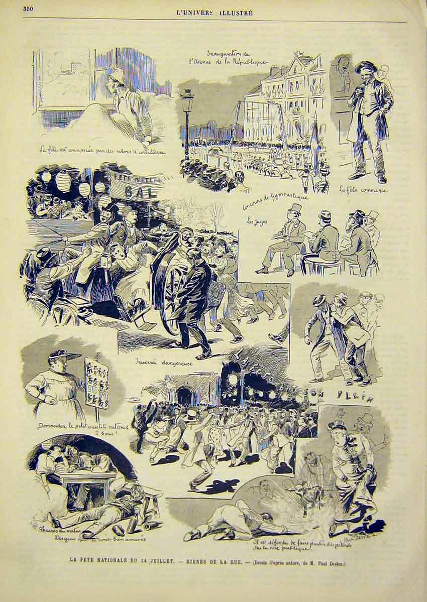 Print Sketches Fete Street Scenes France French 1891 50Lun1 Old Original