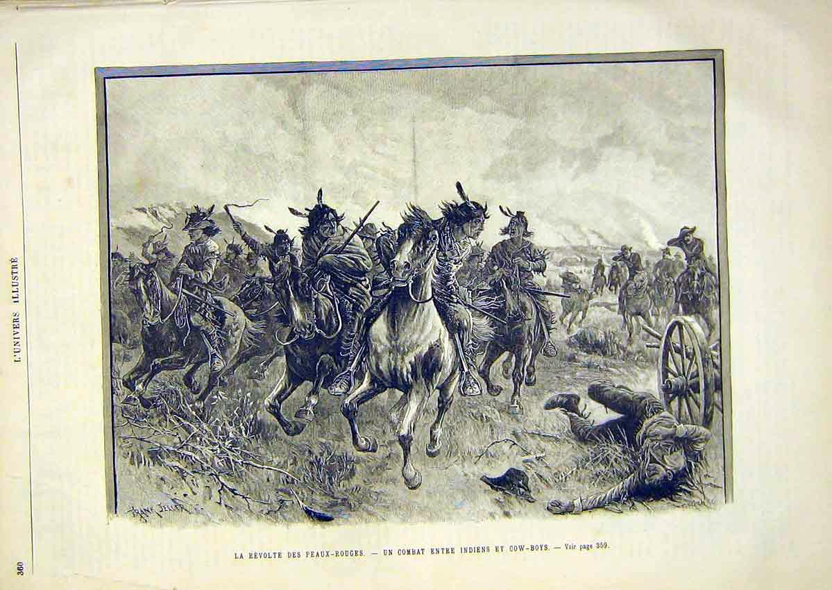 Print Revolt Indian Cow-Boys America French 1891 60Lun1 Old Original