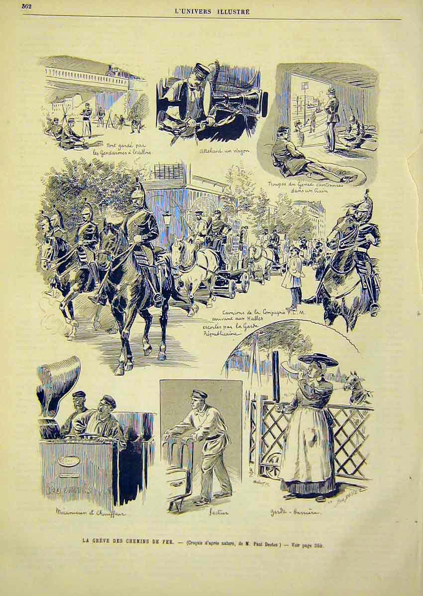 Print Chemins De Fer Sketches Troops French 1891 62Lun1 Old Original
