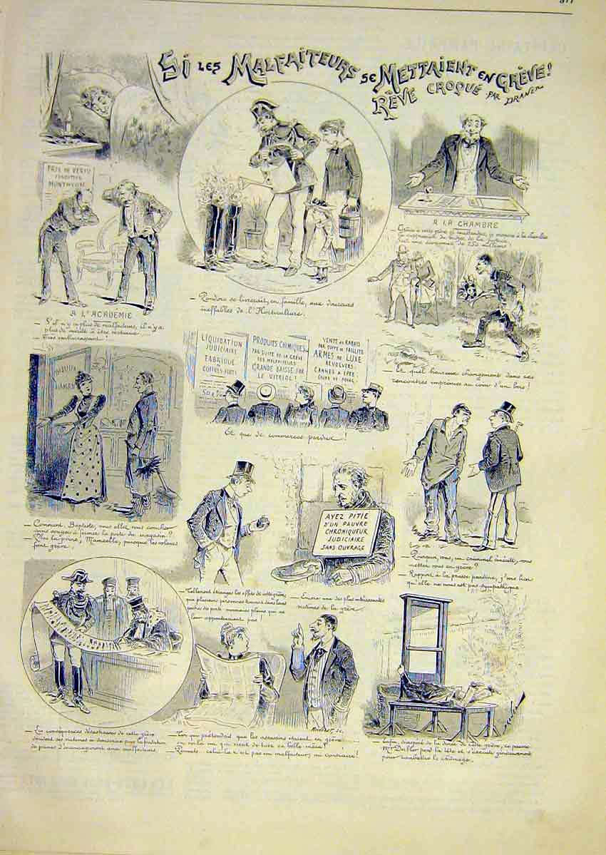 Print Sketches Draner French 1891 77Lun1 Old Original