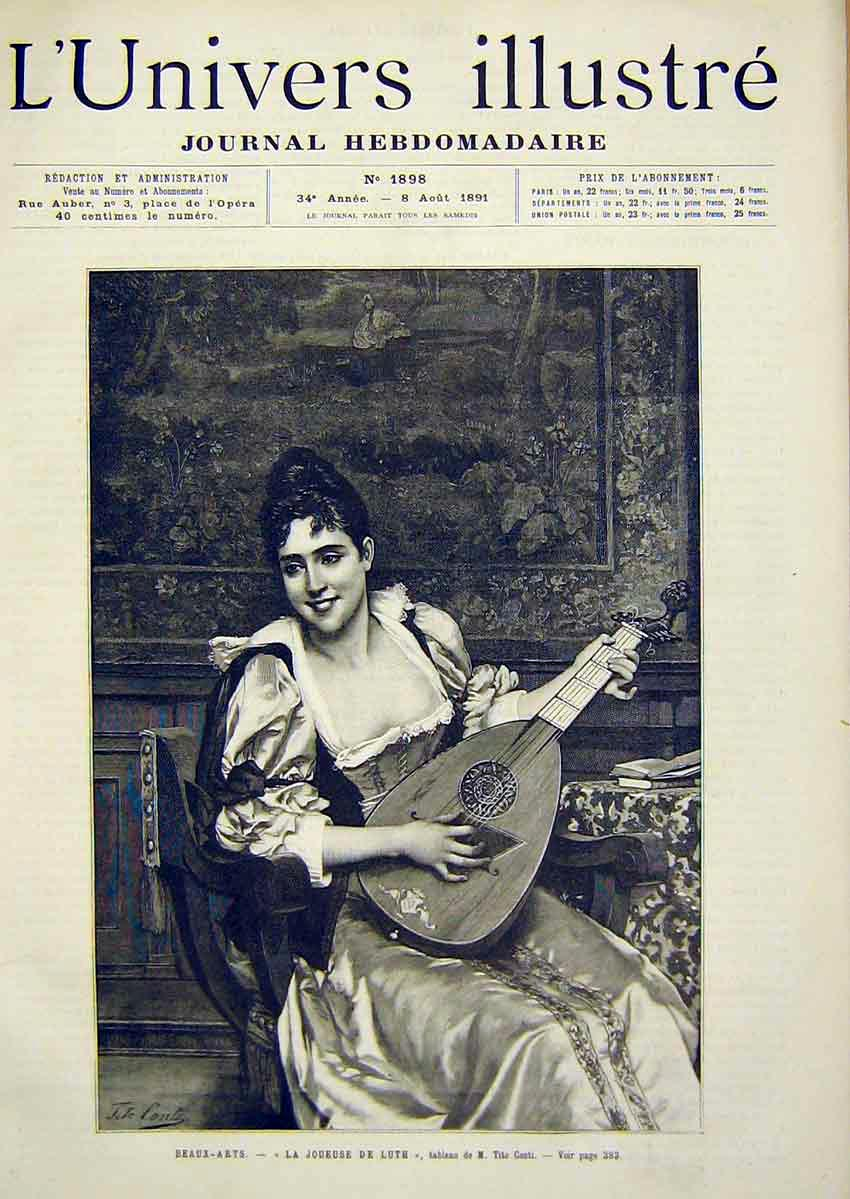 Print Music Luth Conti Lady Sitar French 1891 Portrait 82Lun1 Old Original