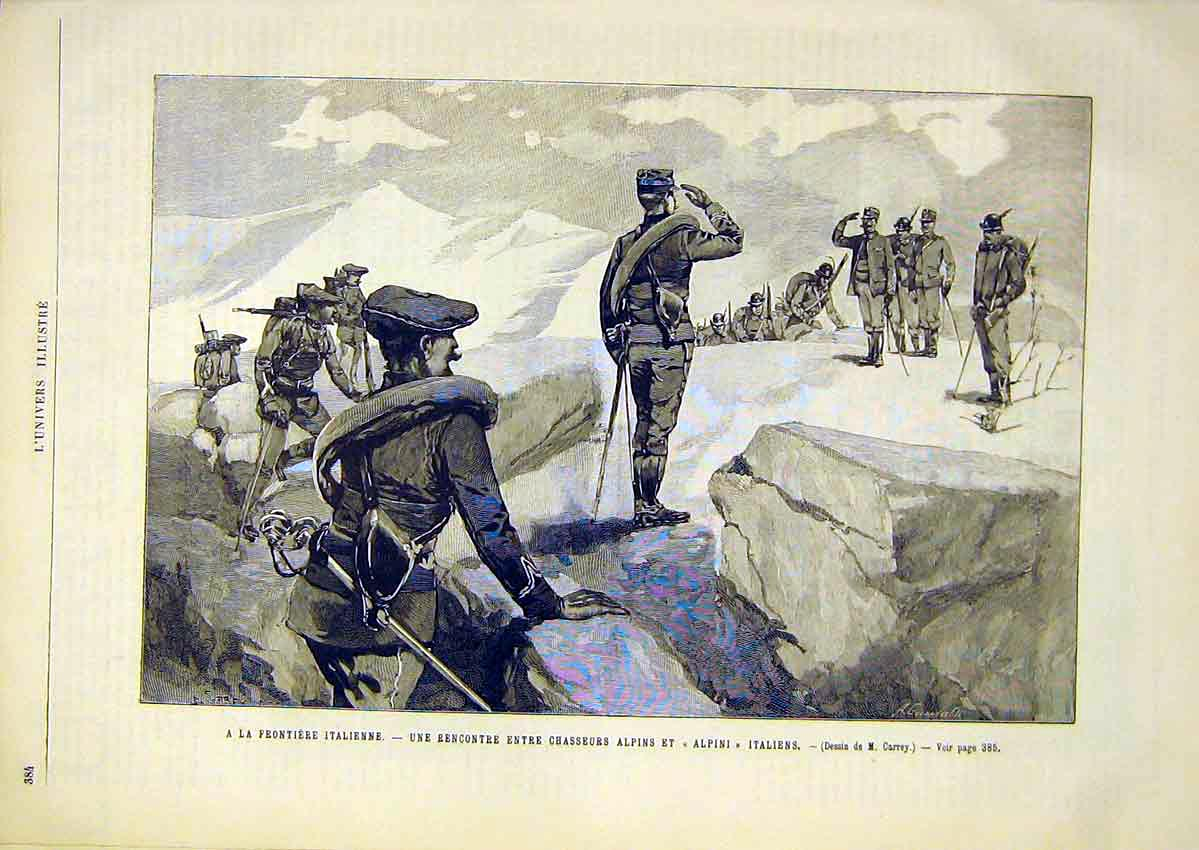Print Italian War Alps Troops Soldiers French 1891 84Lun1 Old Original