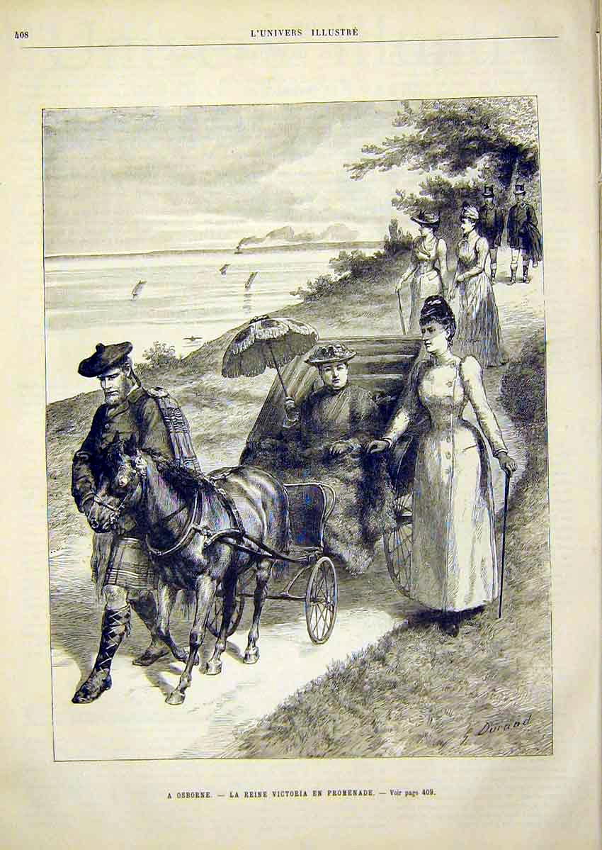 Print Osborne Victoria Promenade Brown French 1891 08Lun1 Old Original